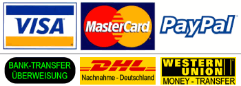We accept Payment with: PayPal, Bank to Bank transfer, Visa & Mastercard - via PayPal - also without PayPal account, Western Union - Money Tranfser, COD only for Germany
